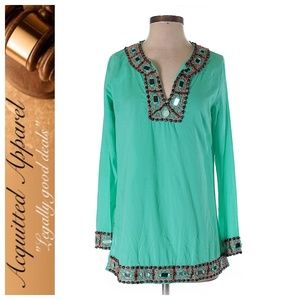 Milly   Tunic Embroidered Edge Blouse Top Shirt